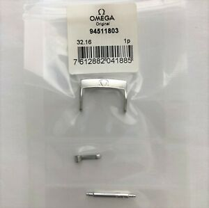 ORIGINAL OMEGA 18mm SILVER CLASP BUCKLE # 94511803 FITS 18mm STRAP BREADTH