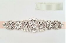 "CRYSTAL Pearl Wedding Bridal Dress Sash Belt = 7 1/4"" long = OFF WHITE"