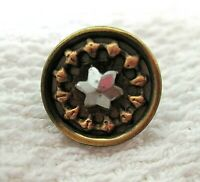 """Vintage Gold Coppery Tone Metal Button Steel Cut Star Center Cup Shape 1/2"""" A21"""