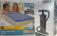 "Queen Air Mattress 18"" Raised Pillow  Intex Dura Beam Inflatable Bed & Pump"