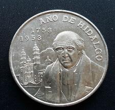1955 Mexico 5 Pesos Ano De Hidalgo Mexican Silver UNC