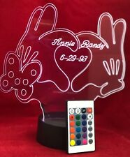 Love Hands Heart Light Up Lamp LED Remote Personalized Free Engraved 16 Colors
