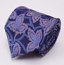 New $205 ERMENEGILDO ZEGNA Silk Tie Dark Blue Intricate Woven Floral Pattern