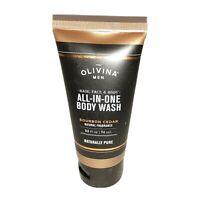 New Olivina Men's All-In-One Body Wash Bourbon Cedar 2.5 Oz Travel Size Sealed