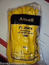 """ANSELL Latex Gloves Flocklined FL 200's #297 12"""" Length 20 mil (1 DOZEN) Size 8"""