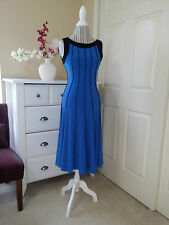 ESSEX Midi Cocktail Dress Cobalt Blue Black Panels Stretch Soft Knit Sz.M  $88