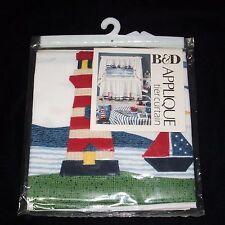 Tier Curtains Applique Sailboat Lighthouse Nautical 60X24 Ocean Boat B&D NEW