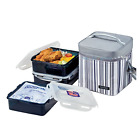 Lock & Lock Bento Square Lunch Box 3-Piece Set with Insulated Stripe Bag HPL856D