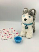 Euc American Girl Doll Pepper Siberian Husky Dog w. Collar, Tag, Bowl & Blanket