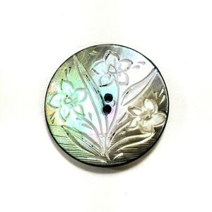 """1"""" Ethereal Button 2 Hole MOP Iridescent Etched 3 Flower Horn Back Metal Shank"""