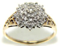 Ladies 9ct Yellow Gold Diamond Cluster Ring 0.25ct Size O ½-2.3g.  free gift box