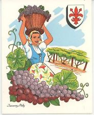 VINTAGE TUSCANY GIRL GRAPES VINEYARD ZABAGLIONE PEACH RECIPE 1 HOLLYHOCKS CARD