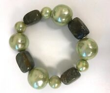 New Big Huge Mallorca Pearls and Pyrite Gemstones Strechable Bracelet One Size