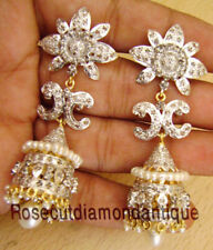 925 Dangle Party Style Pearl Earrings New 3.44ct Antique Rose Cut Diamond Silver