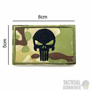 Multicam Camouflage Punisher Morale Patch 8cm x 5cm Hook & Loop Airsoft Camo UK