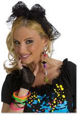 Rockin 80s Black Lace Hair Tie 1980s Pop Star Headband Womens Costume Accessory
