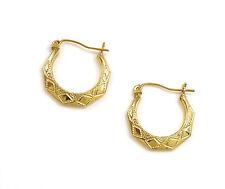 "14K Yellow Gold Victorian Six Sides Hoop Earrings Italian Made 1.5grams 3/4"""