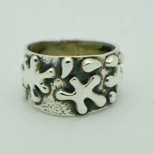 Sterling Silver Mid century Modern ring Band Taxco Mexico heavy size 12.5