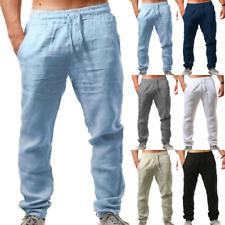 Summer Men's Straight Pants Cotton Linen Beach Loose Yoga Baggy Harem Trousers