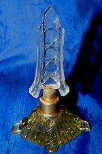 Lovely Antique CZECHOSLOVAKIAN Yellow CUT CRYSTAL PERFUME BOTTLE with Stopper