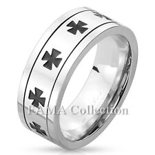 Top Quality FAMA Iron Cross Pattern Stainless Steel Spinner Ring Size 9-13