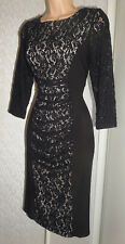 PHASE EIGHT PRETTY PARTY COCKTAIL LADIES BLACK STRETCH LACE DRESS SIZE 10