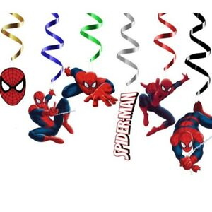 Spiderman Themed Happy Birthday Party Hanging Swirl Banner Decorations Set X 6