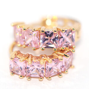Lovely Pink Crystal Round Huggie Hoop Earrings Gold Jewelry for Womens Female