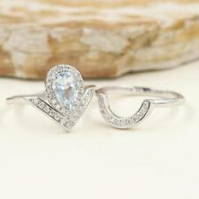 Pear Natural Aquamarine 14k White Gold Bridal Ring Diamond Chevron Wedding Band
