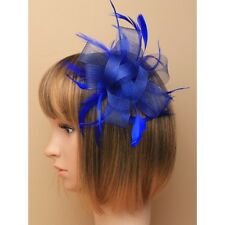 Party/Wedding Looped Ribbon Royal Blue Large Flower Feather Fascinator Hair Comb