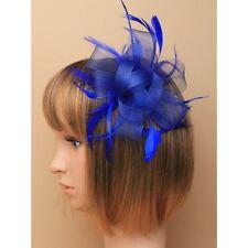 Fiesta/Boda bucles Lazo Azul Real Grande Flor Tocado con Pluma peineta