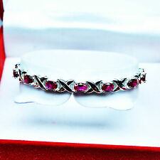 """Free Shipping 70.50ct 100% TOP CHERRY RED RUBY 925 SILVER BRACELET 7"""""""