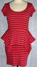 TOPSHOP breton striped peplum jersey t shirt dress UK 10