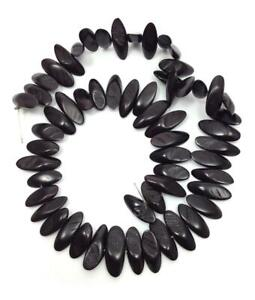 Wooden Plates Black 0 25/32in 1 Cord 56 Piece Kamagong Wood Flat beads