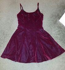 Rampage Vintage 90's Maroon Crushed Velvet Grunge Skater Flare Swing Dress Sz 7