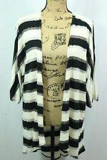 LuLaRoe 'Lindsay' Kimono Small Black White Sheer Stripe Metallic Knit Made USA