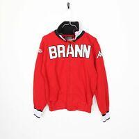Vintage KAPPA Brann Big Logo Zip Up Sweatshirt Jumper Red | Small S