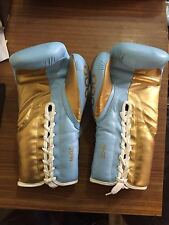 SKY BLUE AND GOLD LEATHER BOXING GLOVES All Big Brands (not Winning ) With Name
