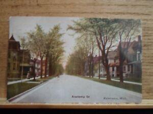 Kalamazoo Mi Mich Michigan, Academy Street, early postcard