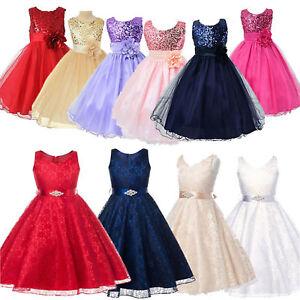 Kinder Mädchen Festkleid Tüll Abendkleid Prinzessin Prom Party Hochzeitkleider