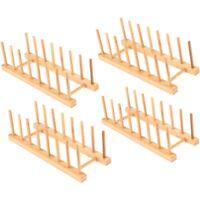 4 Paket Bambus Holz Abtropfbrett Platte Rack StäNder Topf Deckel Halter KüC R6A5