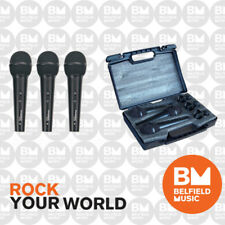 Phonic DM 680 3-Pack Microphone Cardioid Dynamic Vocal Mic Clip Hard Case DM680