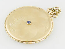 CARTIER Retro 1940s Sapphire 14K  Gold Portable Purse Mirror