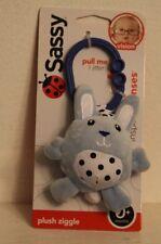 New! Sassy Plush Ziggle Light Blue Bunny