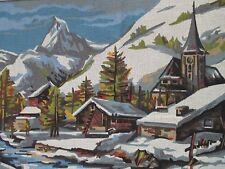 Snow Chapel Needlepoint Canvas Chapelle sous la neige 17x23 Collection de Paris