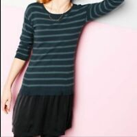 Garnet Hill Two-In-One Striped Sweater Dress. Size S.