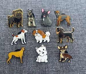 SET OF 10 ASSORTED DOG ENAMEL PIN BADGES