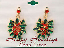 Mistletoe Dangling Post Earrings / Green w Red Crystals / Gold-tone Set  / NWT