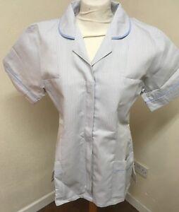 Unicorp Grey + White Stripe Light Blue Trim Ladies Tunics Nurse Care Uniforms