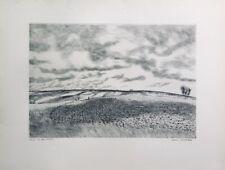 """André JACQUEMIN - """"Les terres labourées"""" - 1945 - Pointe-sèche originale signée"""